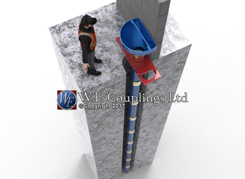 Tremie tremmie couplings Concrete Pouring Laying Cement Piling Foundations Civil Engineering Spool Piece clamp shwing collar shoulder victaulic
